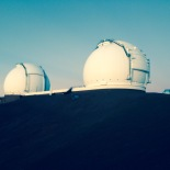View of the Keck Telescopes from Subaru